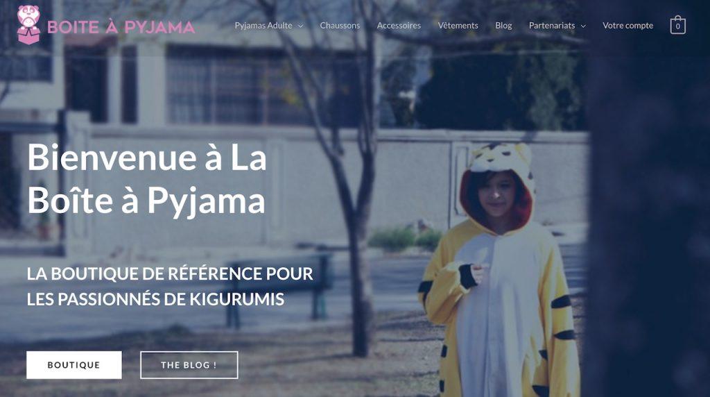 Page d'accueil de La Boîte à Pyjama